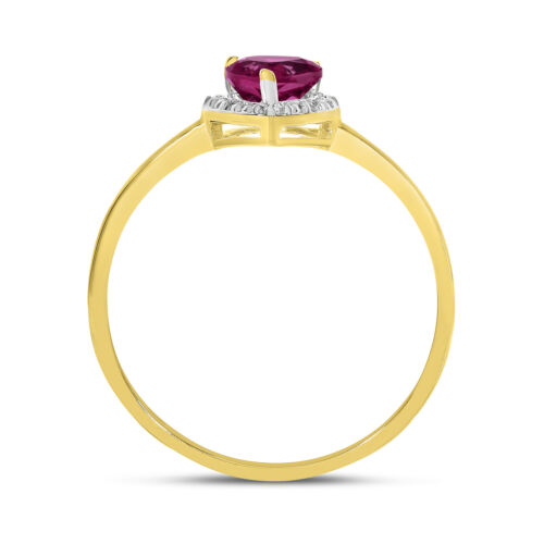 10k Yellow Gold Pear Ruby And Diamond Ring