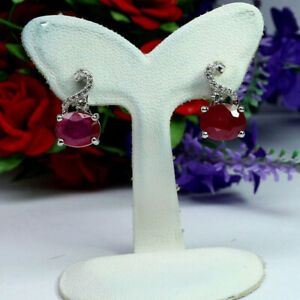 NATURAL-7-X-9-mm-OVAL-RED-RUBY-amp-WHITE-CZ-EARRINGS-925-STERLING-SILVER