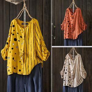 ZANZEA-Femme-T-shirt-Ajustee-Manche-a-Pois-Bande-Boutons-Personnalite-Haut-Plus