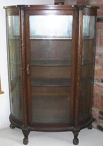Image Is Loading ANTIQUE BOW FRONT OAK CHINA CABINET CLAW FEET