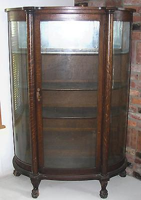 Attractive ANTIQUE BOW FRONT OAK CHINA CABINET CLAW FEET CURVED GLASS