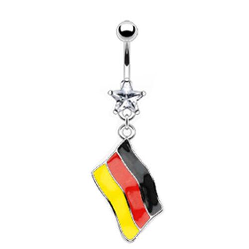 Bauchnabel Piercing Schmuck mit Deutschland Flaggen Anhänger