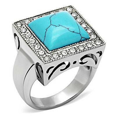 Turquoise Fashion Ring Cab w CZ Halo 316 Stainless Steel Men's or Women's