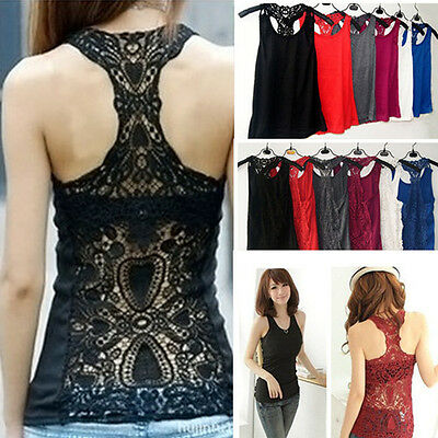 Cotton Crochet Sexy Lady Sleeveless Back Openwork Lace Casual Tank Top Camisole