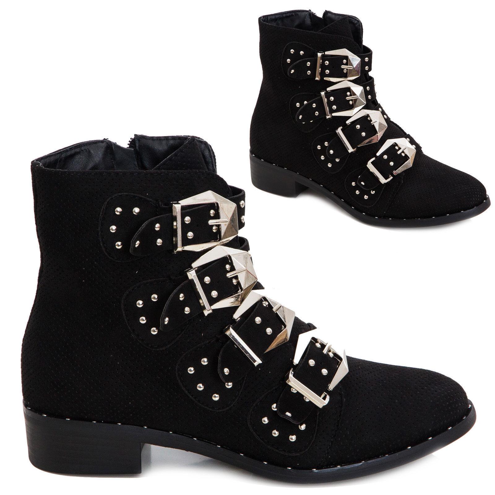 Bottes femme chaussures bottines à gros talon bottes de motard clous boucles