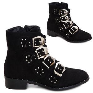 design distinctif grand choix de 2019 spécial chaussure Détails sur Bottes Femme Chaussures Bottines à Gros Talon Biker Boots Clous  Boucles Casual