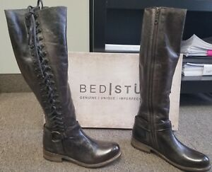 e95bcb73d1bdfc NEW Bed Stu Burnley Lace-Up Taupe Dip Dye leather Boots Size 8 Knee ...