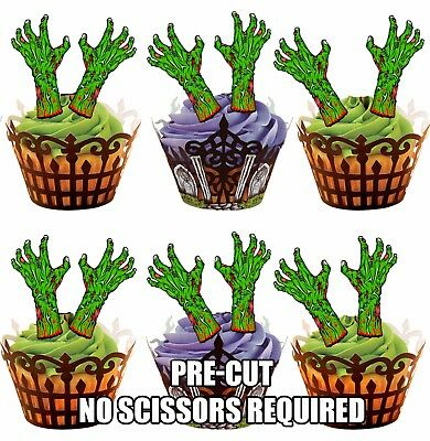 PRE-CUT Green Zombie Hands Edible Cup Cake Toppers Halloween Party Decorations