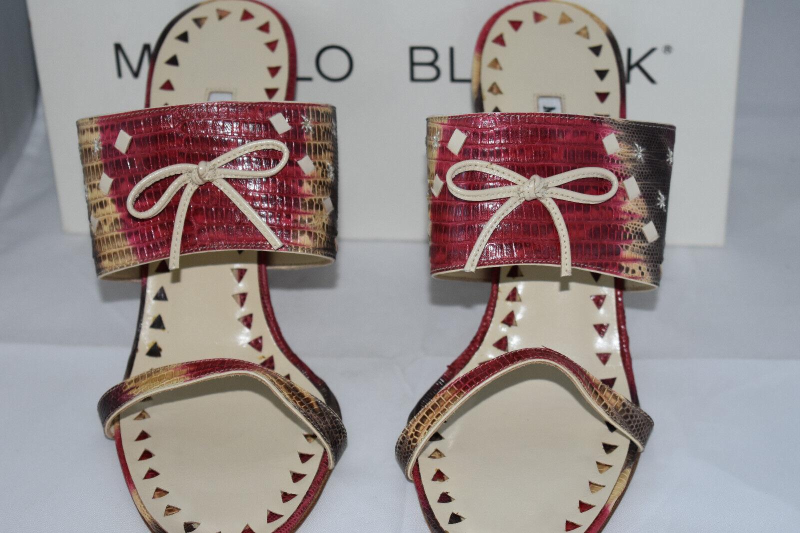 New Beige Black Red Lizard Leather MANOLO BLAHNIK MBULUNY TEJUS Sandals 39
