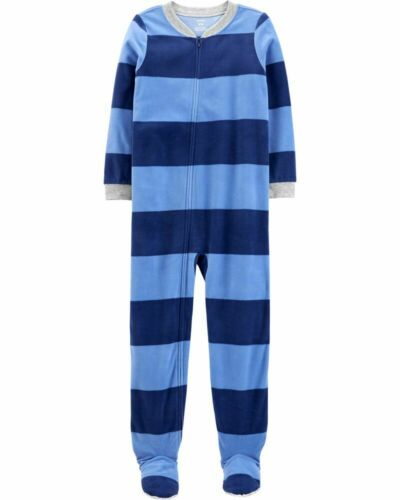 NWT Carters Boys Girls Size 14 Fleece Footed Feety Feet Pajamas Stripes Striped