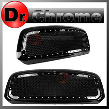 13-16 DODGE RAM Trucks 1500 Black Replacement Rivet Studded+Mesh Grille+Shell