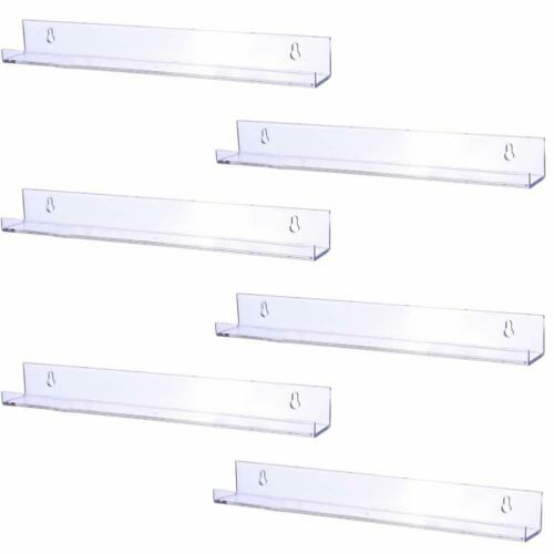 Sooyee 6 Pack 15 Inch Acrylic Invisible Floating Bookshelf for Room Clear