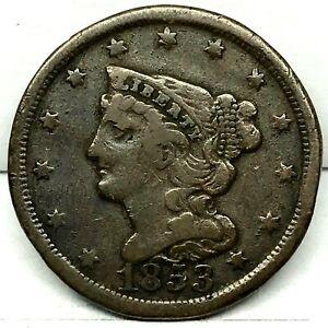 1853 US Half Cent 1/2 Cent  Copper  Rare  Coin. C-1.