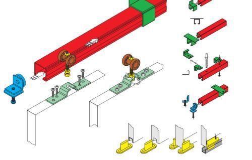 Schiebetür    Selbstbausatz für 2 Türen  2 x 40 kg Schienen von   3500-4000 mm