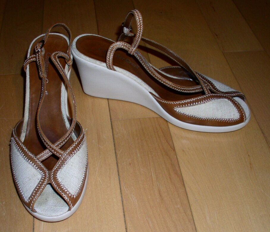 Coldwater Fabric Creek Wms Leather & Fabric Coldwater Wedge Sandals 9 c14168