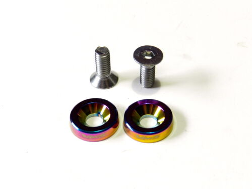 4PC VMS RACING LICENSE PLATE BOLT /& WASHER KIT NEO CHROME