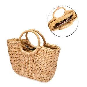 UK Hand Woven Women Holiday Basket Round Retro Rattan Straw Crossbody Beach Bag