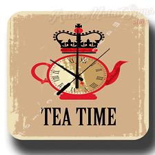 TEA TIME VINTAGE RETRO METAL TIN SIGN WALL CLOCK