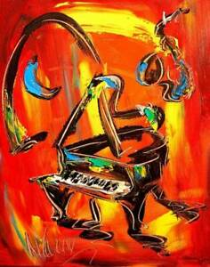 PIANO MUSIC BLUES Mark Kazav  Large Abstract Modern Original Oil Painting Canvas