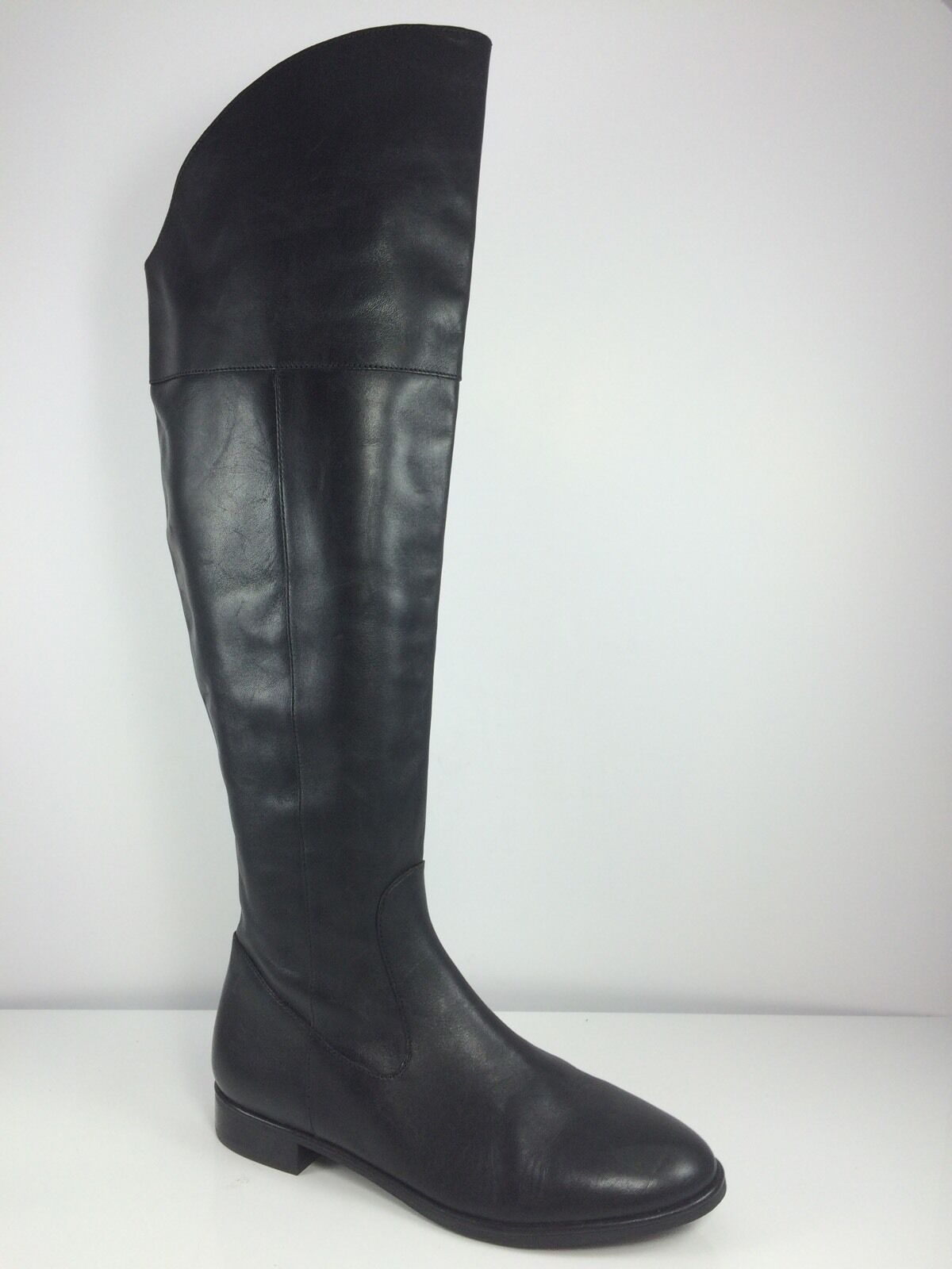 Via Spiga Womens Black Leather Over Knee Boots 8.5 M