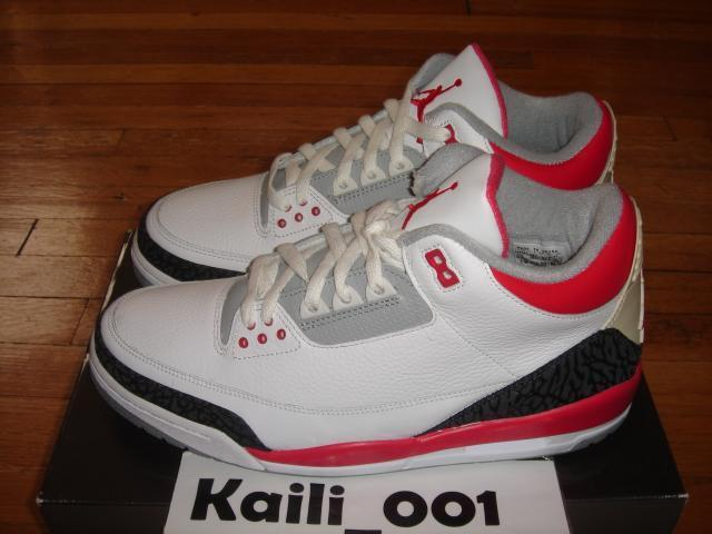 Nike Air Jordan 3 Retro Size 11.5 FIRE RED CEMENT BLACK 2006 B