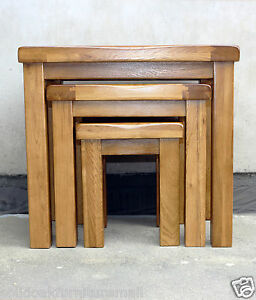 100 original rustic solid oak nest of 3 tables coffee table image is loading 100 original rustic solid oak nest of 3 mozeypictures Gallery