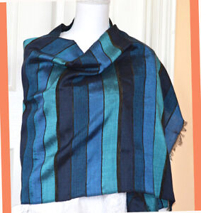 Moroccan-Cactus-Silk-Blue-Turquoise-Black-Color-Striped-Wrap-Stole-from-Morocco
