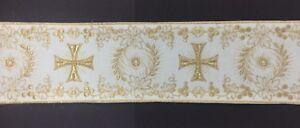 Orphrey-Vintage-Luz-Oro-Cojos-Encendido-Blanco-Vestment-Banda-10-2cm-Vendido-Por