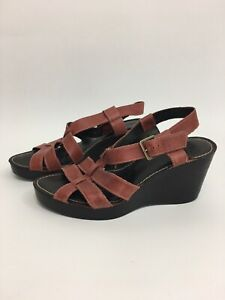 Clarks-UK-4-Tan-Brown-Strappy-Leather-Platform-Wedges-Excellent-Condition