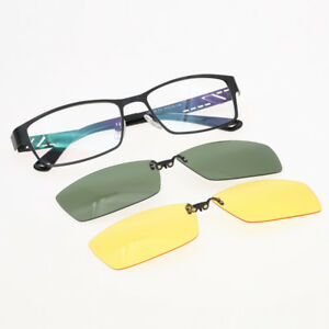 cf7558f20f 2 pcs Polarized Clips on Eyeglasses Frame Rx Eyewear Night Driving ...