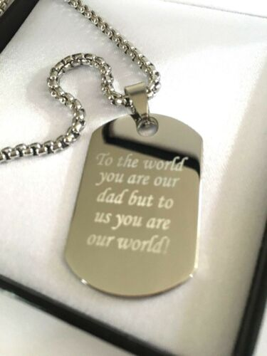Mens Custom Engraved Large Steel ID Dog Tag Chain Necklace Fathers Day Dads Gift