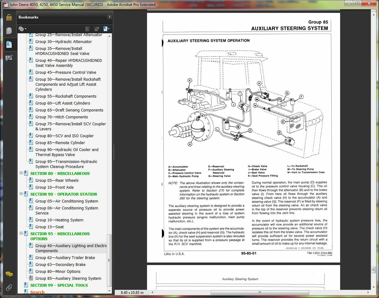 TM1353 John Deere 4050 4250 4450 Tractor Technical Service Manual Repair  Book CD | eBay
