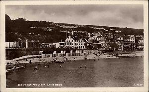 Lyme-Regis-Dorset-England-AK-1946-Coast-Kueste-Strand-Stadt-City-People-Menschen