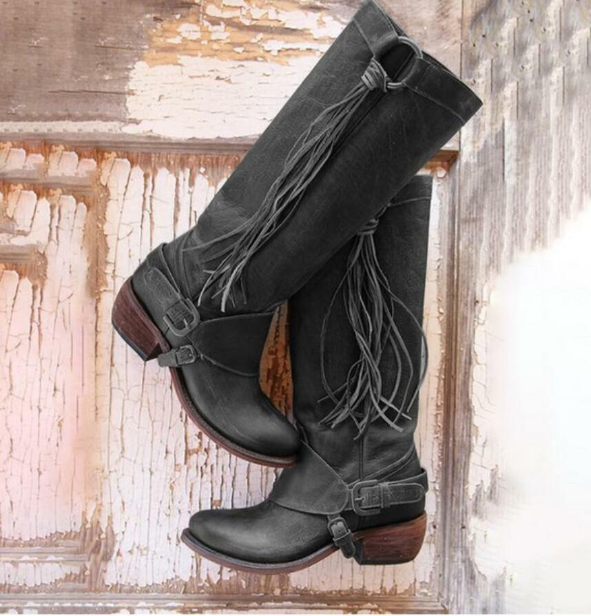Calf Riding Boots Cowboy shoes New Ladies Womens Retro Low Chunky Heel Knee High
