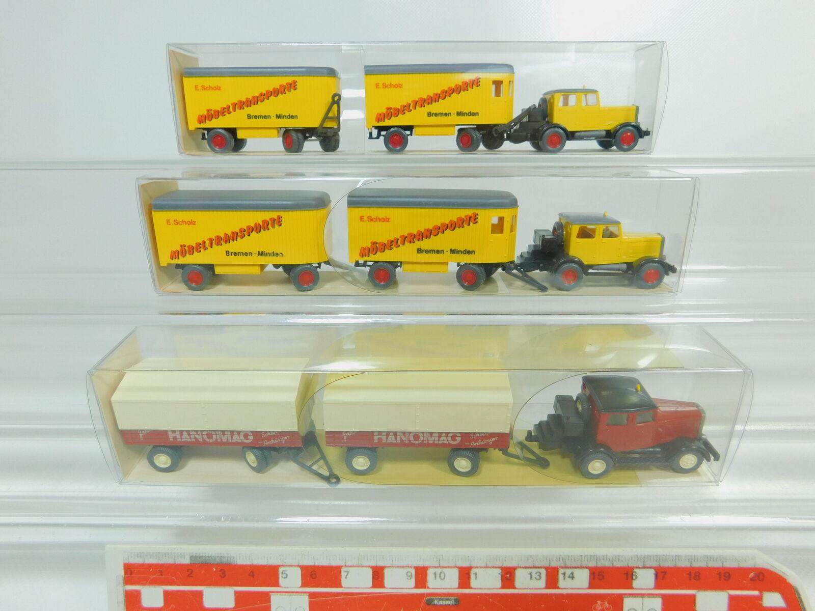 BO444-0,5  3x Wiking H0 1 87 LKW Hanomag ST 100  27 851 Scholz  27 850, TOPOVP  | Auf Verkauf