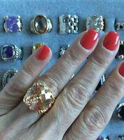 "NEW Gorgeous ""designer inspired"" Large Round Topaz CZ Gold tone Ring Size 6"