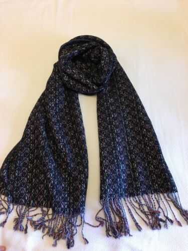 New CASHMERE Blend Winter Scarf Dark Mixed Colors