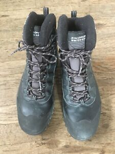 Salomon-Black-Leather-Gore-Tex-Waterproof-Boots-Mens-US-10-5-Winter-Gear-Shoes