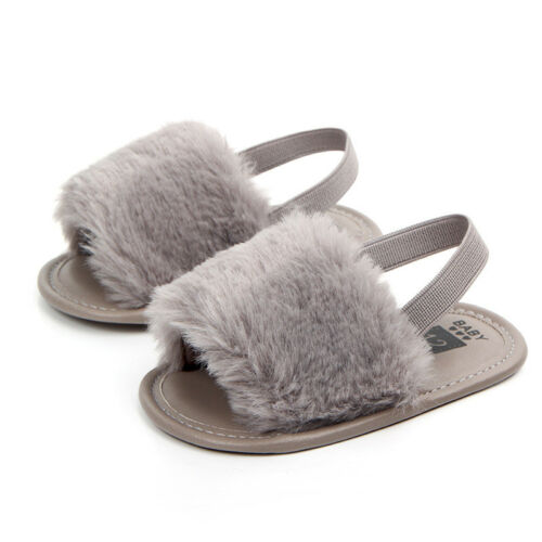 Fashion Party ShoesToddler Baby Girl Princess Summer Fluffy Fur Sandals Slippers