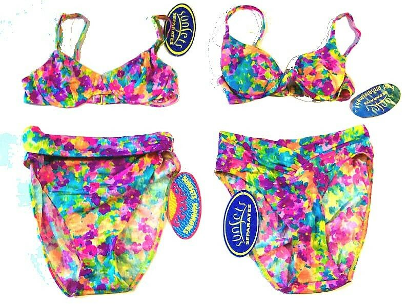 Sunsets Sunsets Sunsets Multicolor Watercolor Floral Bikini Separates NWT Sz S,M 00a169