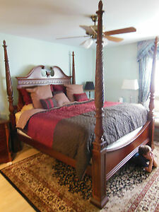 Deluxe Mint Bedroom Set King Size Cherry Furniture Armoire Carved ...