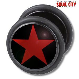 RED-STAR-ON-BLACK-FAKEPLUG-Fake-Piercing-Picture-Plug-Ohrstecker-Tattoo