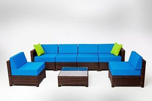 Outdoor wicker patio pe rattan 7pcs couch sectional sofa furniture set - Mcombo 7pcs Wicker Patio Sectional Indoor Outdoor Sofa