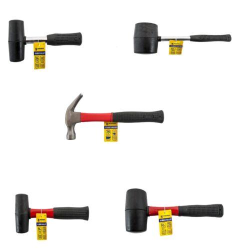 All size Rubber Hammer Mallet Fibre Shaft Grip Handle Racking DIY Garage Camping