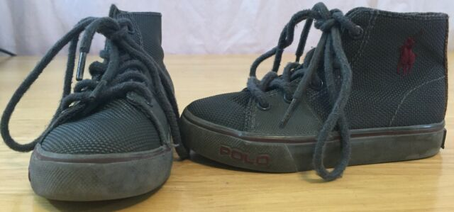 9984bd3ac Polo by Ralph Lauren Gray Lace up Toddler Sneaker Tennis Shoes US Size 7 UK  6 for sale online
