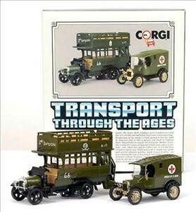 CORGI-C88-TRANSPORT-THROUGH-THE-AGES-Thornycroft-bus-Model-T-van-Military-set