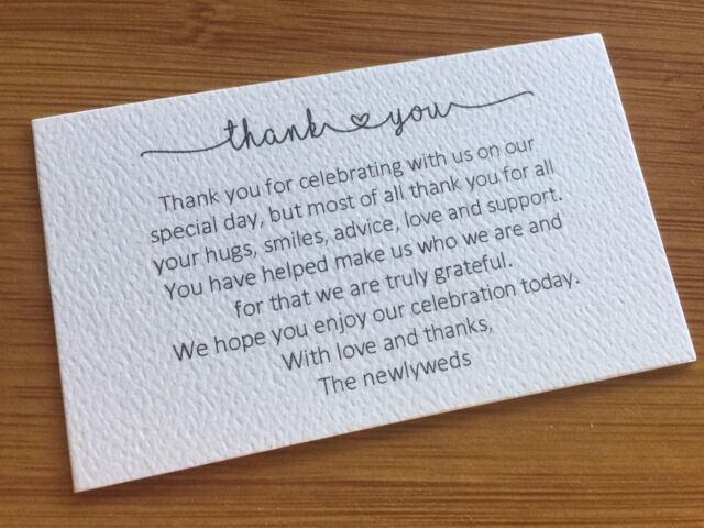 50 X White Thank You Cards Printed And Cut Wedding Thankyou