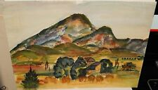 SMALL DESERT TOWN ORIGINAL WATERCOLOR LANDSCAPE PAINTING UNSIGNED