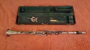 Vintage Silver Chauvet Clarinette Dans étui D'origine-afficher Le Titre D'origine