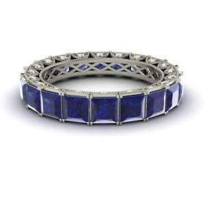 Princess Diamond Blue Sapphire 950 Platinum 4.40 Ct Eternity Band Size M N O P